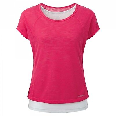 Craghoppers Ladies Pro Lite T-Shirt in Electric Pink / Dove Grey - UK 20