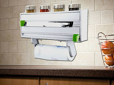 4In1 Wall Mounted Kitchen Tidy Roll Cling Foil Towel Cutter Spice Rack Holder
