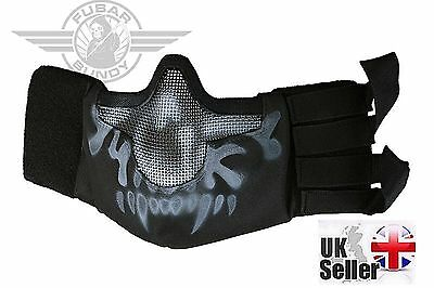 Airsoft Tactical Mesh Lower Face Protective Mask Military Paintball - B/W Skull