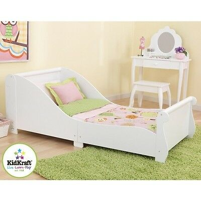 Kidkraft Sleigh Toddler Bed, White Wooden Bed,  Young Children Sleeping Cot