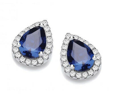 J Jaz: Rhodium Plated 925 Hallmarked Silver Sapphire Blue Teardrop Stud Earrings