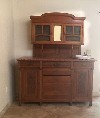 Oak server with marble top and hand painted glass, Antique European