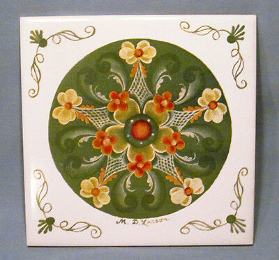 Hand Painted Signed Ceramic Pottery Larson Rosemaling Tile Trivet Wall Art