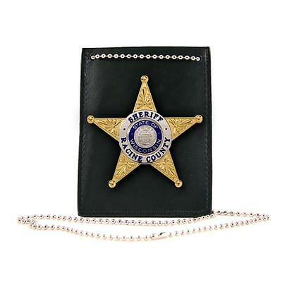 Boston Leather Neck Chain Id And Badge Holder