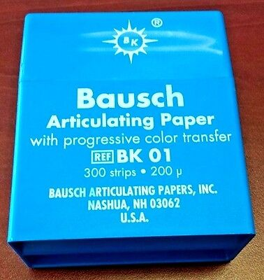 Bausch Articulating Paper Strips Thin 200 Microns Blue Box/300 REF#: BK01