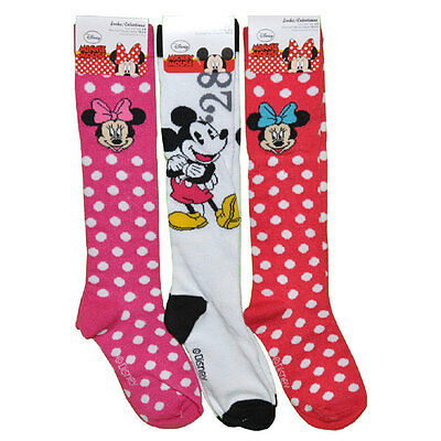 3 Pair Disney Mickey Minnie Mouse Knee High Socks Set Kids Apparel Size 6-8 New