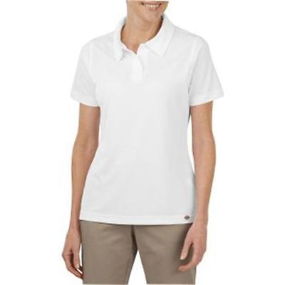 DICKIES Women's Industrial Short-Sleeve Polo Small White