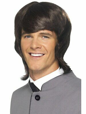 Brown 1960's Groovy Male Mod Wig Adult Mens Smiffys Fancy Dress Costume