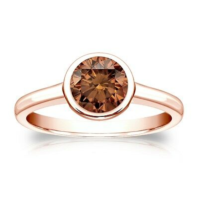3 Ct Round Brown Solitaire Bezel Engagement Wedding Ring Real 14K Rose Gold