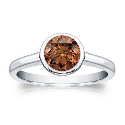 3 Ct Round Cut Brown Solitaire Bezel Engagement Wedding Ring Real 18K White Gold
