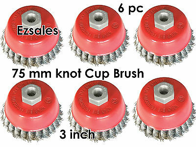 "6pc a lots 3"" Knot Type Wire Cup Brush for 5/8"" arbor for angle grinders 6 pc"