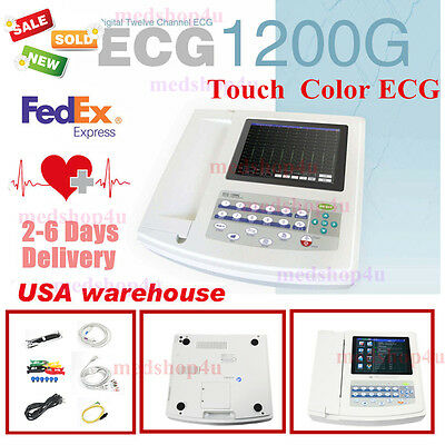 US  Contec 12-Channel 12 Lead ECG/EKG Electrocardiograph,Realtime Analysis Hot