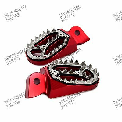 MX Wide Foot Pegs Footrests for Gas Gas EC 125 200 250 300 400 1997-2015 Red