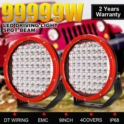 Pair 99999W 9INCH Cree LED Driving Light Round Spotlights Offroad Truck 4x4 ATV