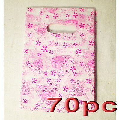 70pc Plastic Carry Shopping Bag Gift Bags 12.5x19.5cm Wholesale
