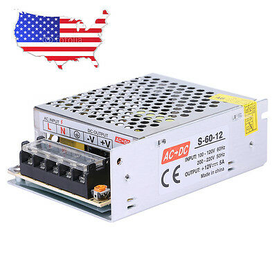 NEW Mini Regulated Switching Power Supply DC 12V 5A 60W For LED Strip Light