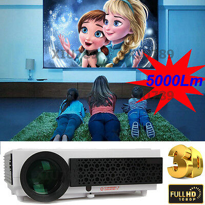 1080P 5000Lumens LED96+ Projector 120'' Home Cinema Theater Projector 3D HDMI