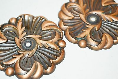 Vintage BACKPLATE 1960 RDCA Copper Rosette French Provincial Ornate Lot of 2