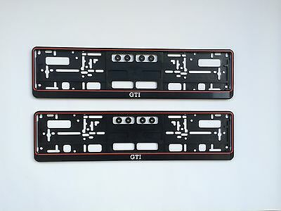 2x VW GTI Support de plaque d'immatriculation Golf 1 2 3 4 5 6 7 Polo Lupo -MADE