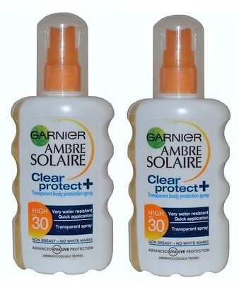 2 x Garnier Ambre Solaire Clear Protect Transparent Spray SPF 30 New