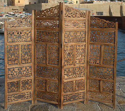 Paravent 4 Panel Indian Hand Carved Wooden Screen Room Divider Free P & P  S