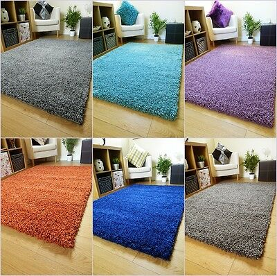 NEW PLAIN SOFT SHAGGY RUGS & RUNNERS NON SHED 5cm PILE MODERN STYLE COLOURS