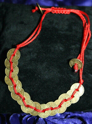 14 Chinese Coin Coins Red Feng Shui Good Luck Fortune Adjustable Bracelet Anklet