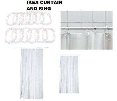 IKEA INNAREN SHOWER CURTAIN- WHITE- Size 180x180 cm- CURTAIN WITH RINGS