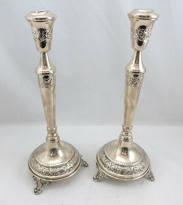 "Silver 800 Candlesticks Set/Pair of 2 12"" Height 346grams"