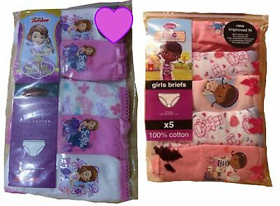 Girls 5 pack Doc McStuffin Sofia the First Briefs age 1-6 yrs pants underwear