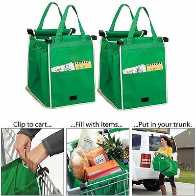 Grab Bag Clip-To-Cart Reusable Grocery Shopping Bags, Pack of 2