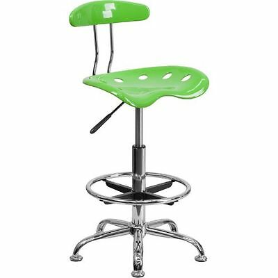 Vibrant Apple Green and Chrome Drafting Stool with Tractor Seat FLALF215APPLEGRE