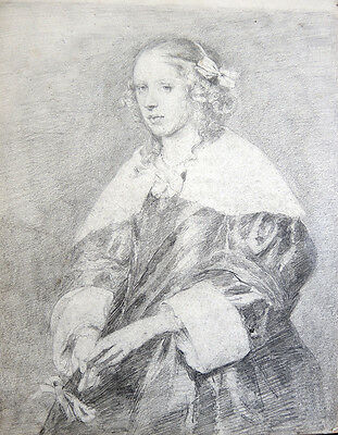 Exquiste 19thc. Female Portrait. Graphite on paper. Additional drawing verso.