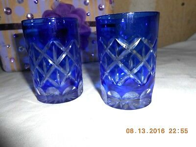 """Pair Bohemian Cobalt Blue Cut to Clear Crystal Tasting Glasses 3"""" Excellent Cond"""