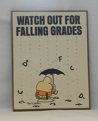 """Vintage Ziggy Wood Plaque """"Watch Out For Falling Grades"""" 1982 American Greetings"""