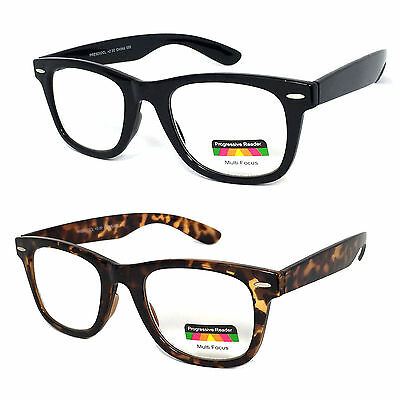 Retro Square Frame Multi Focal Reading Glasses 3 Strengths in 1 Reader