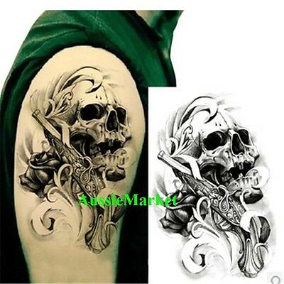 1 x temporary tattoo sticker sheet skull pistol party body art fancy dress arm