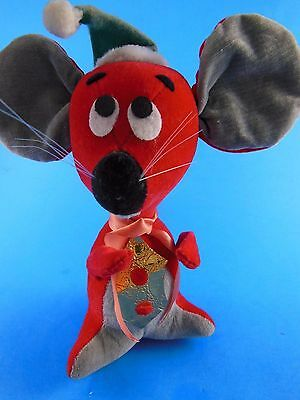 "Rare 6"" Vintage Retro Dakin FUN FARM Red & grey Velvet Christmas Mouse"