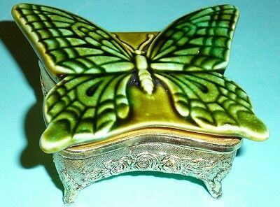 Vintage Butterfly Music Box (glazed ceramic and metal) MADE IN JAPAN