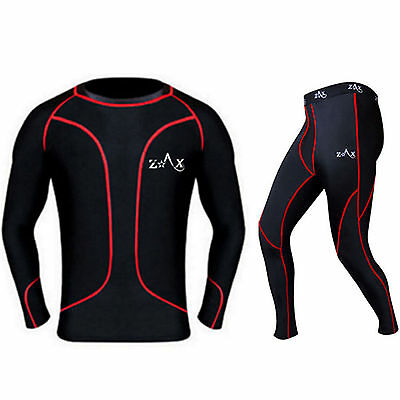 Mens Compression Base Layer Top Shirt Skin Fit Shirt + Tights / Trousers SET