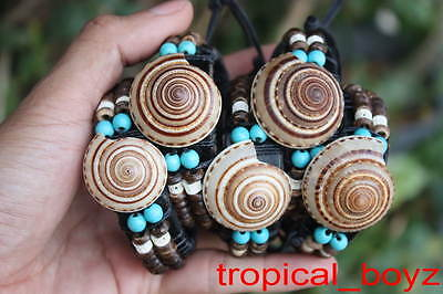 5 Large Handmade Seashell Sea Shell Bone Beads Leather Bracelets Wholesale TQ