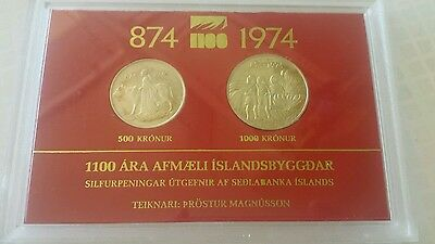 ICELAND - SILVER 500+1000 KRONUR UNC COIN SET 1974 YEAR 1100th ANNI SETTLEMENT