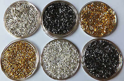1000 pcs Silver/Golden/Dark Silver/Black Tube Crimp End Spacer Beads 1.5/2mm