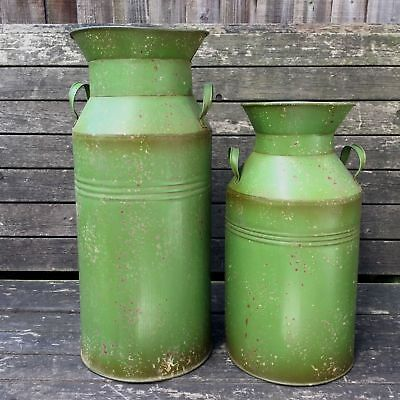 Antique Vintage Style Rustic Metal Milk Churn Garden Planter Ornament Vase Med.