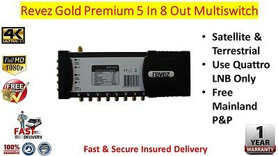 Revez Gold Premium 5 In x 8 Out Satellite & Terrestrial Multiswitch