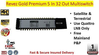 Revez Gold Premium 5 In x 32 Out Satellite & Terrestrial Multiswitch
