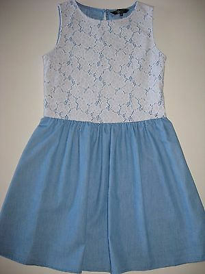 Girls blue/white flared dress with lace New Look age 12 excellent condition