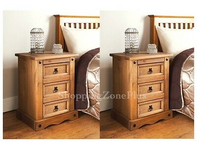 Set Of 2 Elegant Rustic Solid Wooden 3 Drawer Bed Side Table Cabinet Chest Lamp