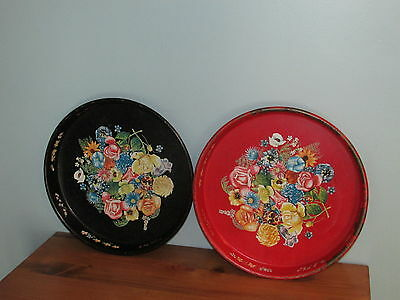 Lot Of 3 Vintage Black And Red Tin Litho Floral Metal Serving Trays