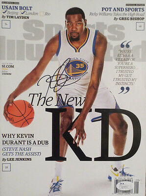 Kevin Durant Autographed Warriors Sports Illustrated Basketball Magazine JSA 11